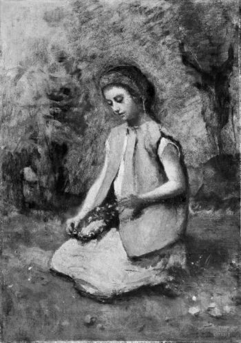 Girl Weaving a Garland (1860-65) | Camille Corot | oil painting