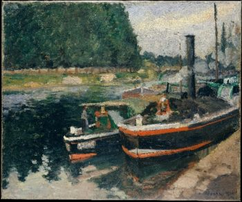 Barges at Pontoise (1876) | Camille Pissarro | oil painting
