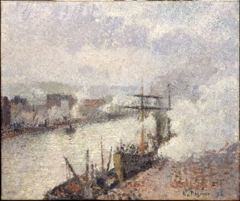 Steamboats in the Port of Rouen (1896) | Camille Pissarro | oil painting