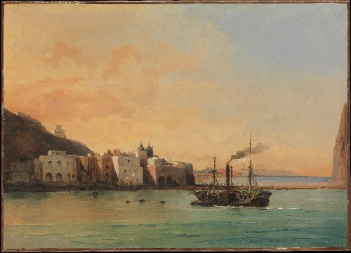 View of Ischia from the Sea (1842) | Charles Remond | oil painting