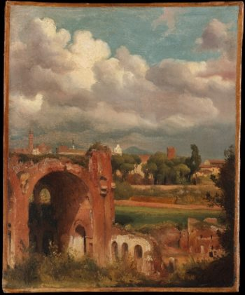 View of the Basilica of Constantine from the Palatine Rome (ca 1821-25) | Charles Remond | oil painting
