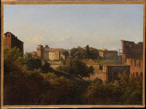 View of the Colosseum and the Arch of Constantine from the Palatine (ca 1821-25)   Charles Remond   oil painting