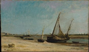 Boats on the Seacoast at Etaples (1871) | Charles-Francois Daubigny | oil painting