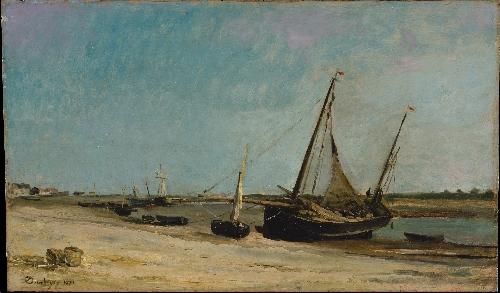 Boats on the Seacoast at Etaples (1871) | Charles-Francois Daubigny | oil painting