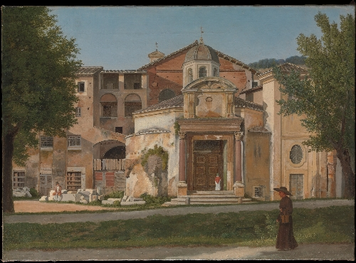 A Section of the Via Sacra Rome (The Church of Saints Cosmas and Damian) (ca 1814-15) | Christoffer Wilhelm Eckersberg | oil painting