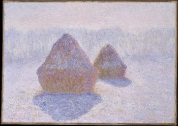 Haystacks (Effect of Snow and Sun) (1891) | Claude Monet | oil painting