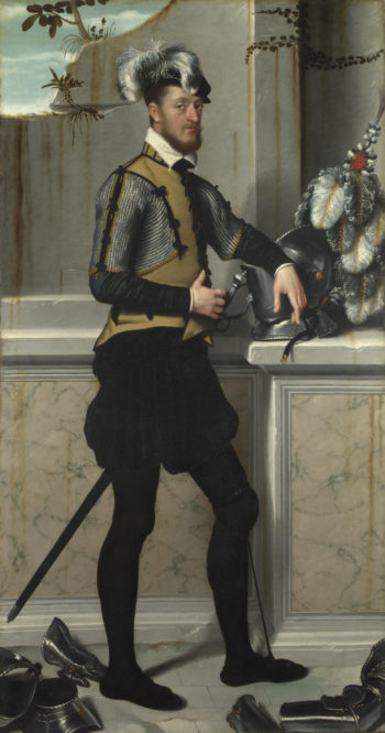 A Knight with his Jousting Helmet | Giovanni Battista Moroni | oil painting