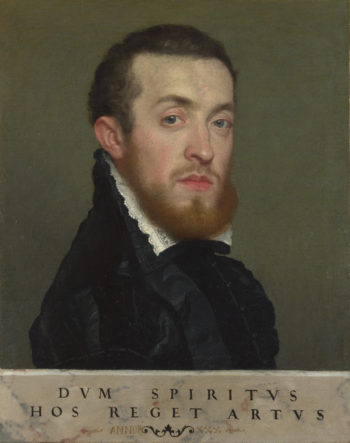 Bust Portrait of a Young Man with an Inscription | Giovanni Battista Moroni | oil painting