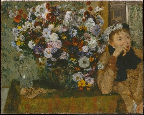 A Woman Seated beside a Vase of Flowers (1865) | Edgar Degas | oil painting