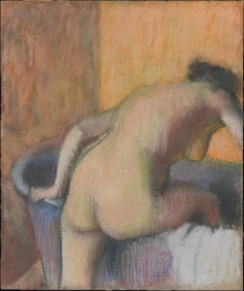 Bather Stepping into a Tub (ca 1890) | Edgar Degas | oil painting