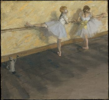 Dancers Practicing at the Barre (1877) | Edgar Degas | oil painting