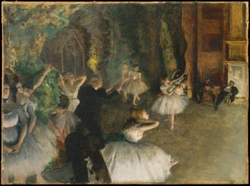 The Rehearsal of the Ballet Onstage (prob 1874) | Edgar Degas | oil painting