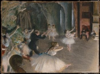 The Rehearsal Onstage (prob 1874) | Edgar Degas | oil painting