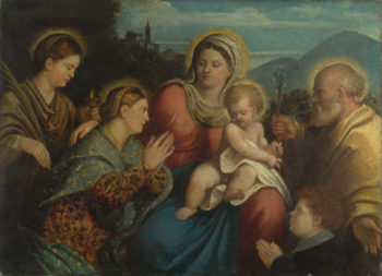 The Holy Family with Saints and a Donor | Giovanni Cariani | oil painting
