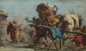 The Building of the Trojan Horse | Giovanni Domenico Tiepolo | oil painting