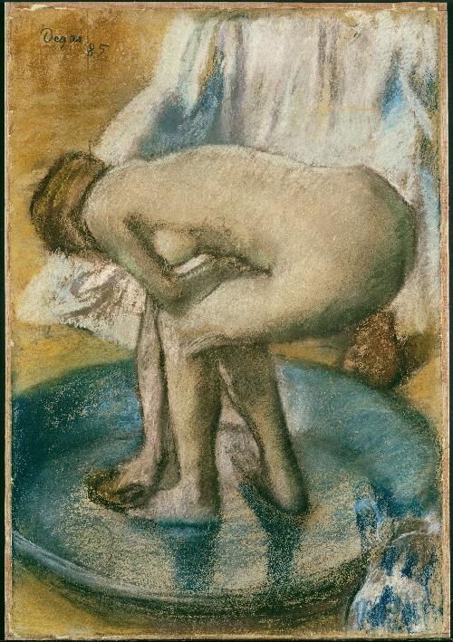 Woman Bathing in a Shallow Tub (1885) | Edgar Degas | oil painting