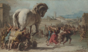 The Procession of the Trojan Horse into Troy | Giovanni Domenico Tiepolo | oil painting