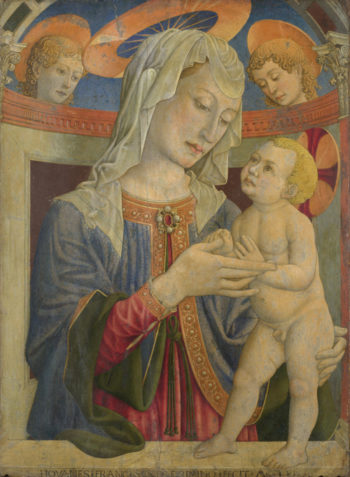 The Virgin and Child with Two Angels | Giovanni Francesco da Rimini | oil painting