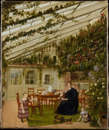 The Family of Mr Westfal in the Conservatory (1836) | Eduard Gaertner | oil painting
