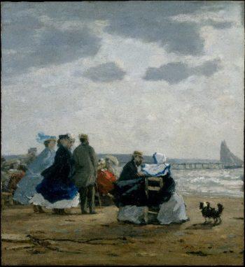 On the Beach Dieppe (1864)   Eugene Boudin   oil painting