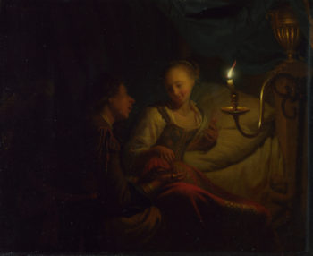 A Man Offering Gold and Coins to a Girl | Godfried Schalcken | oil painting