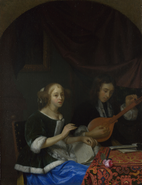 A Woman singing and a Man with a Cittern | Godfried Schalcken | oil painting