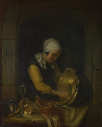 An Old Woman scouring a Pot | Godfried Schalcken | oil painting
