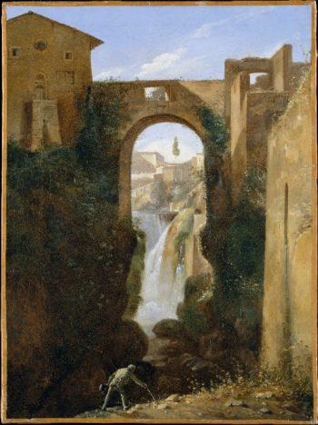 Ponte San Rocco and Waterfalls Tivoli (ca 1810-20) | Francois-Marius Granet | oil painting
