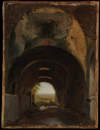 View in the Stables of the Villa of Maecenas Tivoli (ca 1805-10) | Francois-Marius Granet | oil painting
