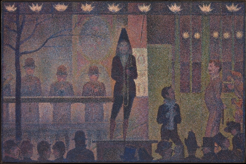 Circus Sideshow (1887-88)   Georges Seurat   oil painting