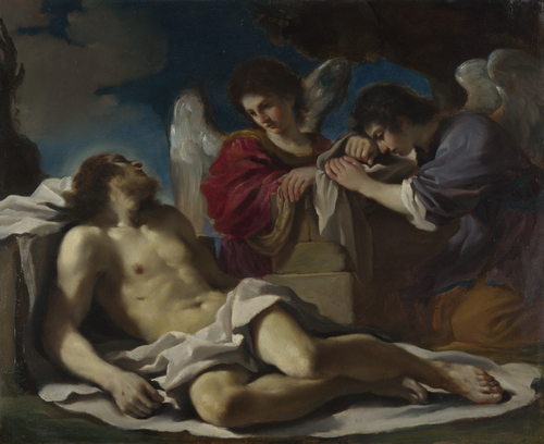 The Dead Christ mourned by Two Angels   Guercino   oil painting
