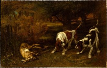 Hunting Dogs with Dead Hare (1857) | Gustave Courbet | oil painting
