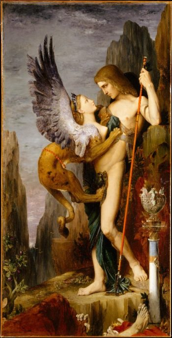 Oedipus and the Sphinx (1864) | Gustave Moreau | oil painting