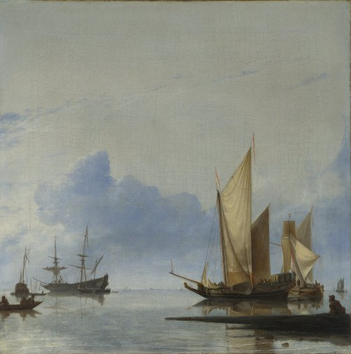 A Dutch Yacht and Other Vessels Becalmed near the Shore | Hendrick Dubbels | oil painting