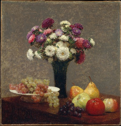 Asters and Fruit on a Table (1868) | Henri Fantin-Latour | oil painting