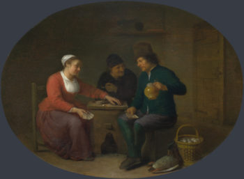 A Woman playing Cards with Two Peasants | Hendrick Sorgh | oil painting