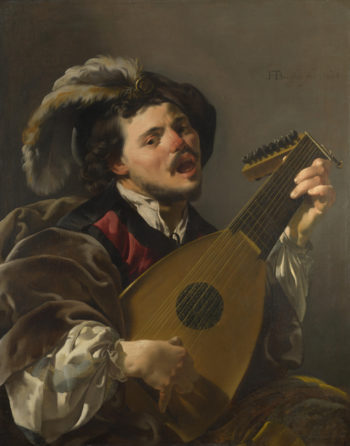 A Man playing a Lute | Hendrick ter Brugghen | oil painting