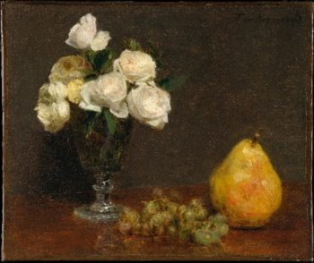 Still Life with Roses and Fruit (1863) | Henri Fantin-Latour | oil painting