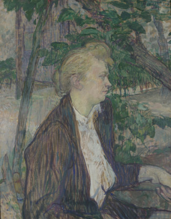 Woman seated in a Garden | Henri de Toulouse-Lautrec | oil painting
