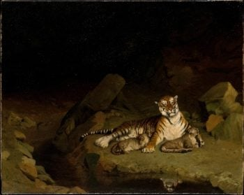 Tiger and Cubs (ca 1884) | Jean-Leon Gerome | oil painting