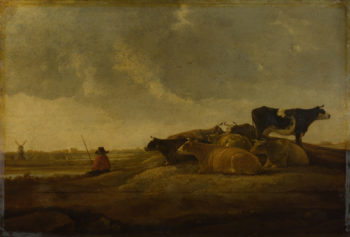 A Herdsman with Seven Cows by a River | Imitator of Aelbert Cuyp | oil painting