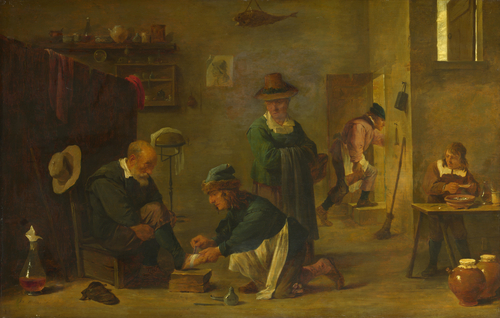 A Doctor tending a Patient's Foot in his Surgery | Imitator of David Teniers the Younger | oil painting