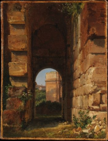 The Arch of Constantine Seen from the Colosseum (1818-1838) | Lancelot-Theodore Turpin de Crisse | oil painting