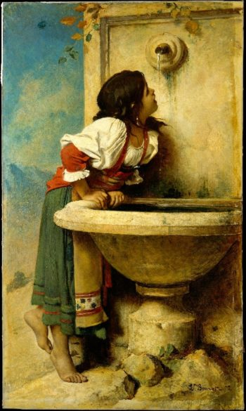 Roman Girl at a Fountain (1875) | Leon Bonnat | oil painting