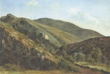Hilly Landscape with Sheep (1827-29) | Leon Fleury | oil painting