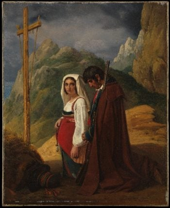 Brigand and His Wife in Prayer (1824) | Leopold Robert | oil painting