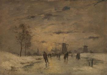 Skating in Holland | Imitator of Johan Barthold Jongkind | oil painting