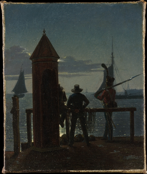 View from the Citadel Ramparts in Copenhagen by Moonlight (ca 1835-36) | Martinus Rorbye | oil painting