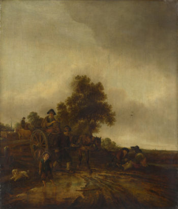 A Landscape with Peasants and a Cart | Isack van Ostade | oil painting