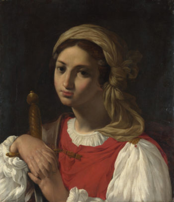 A Female Figure resting on a Sword | Italian | oil painting